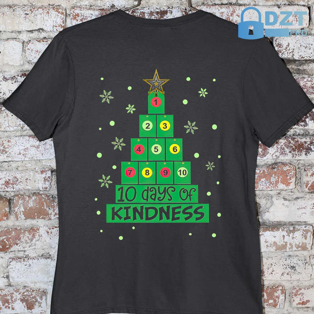 10 Days Of Kindness Christmas Tree Tshirts Black - from dztpro.co 3