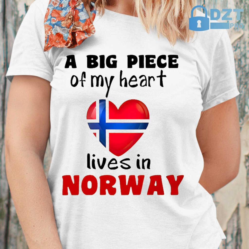 A Big Piece Of My Heart Lives In Norway Tshirts White - from dztpro.co 2