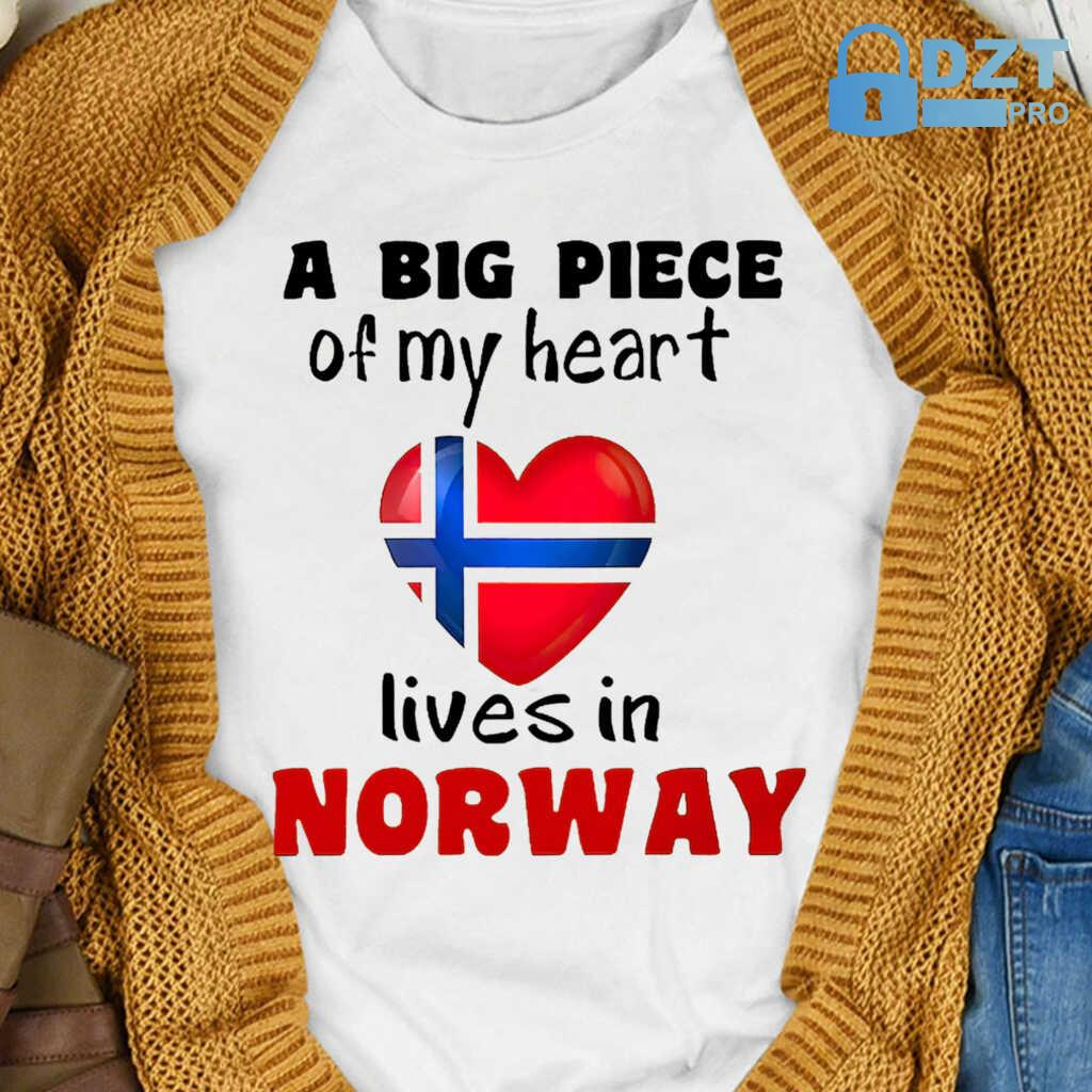 A Big Piece Of My Heart Lives In Norway Tshirts White - from dztpro.co 4