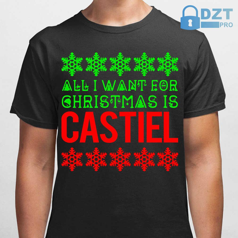 All I Want For Christmas Is Castiel Ugly Tshirts Black