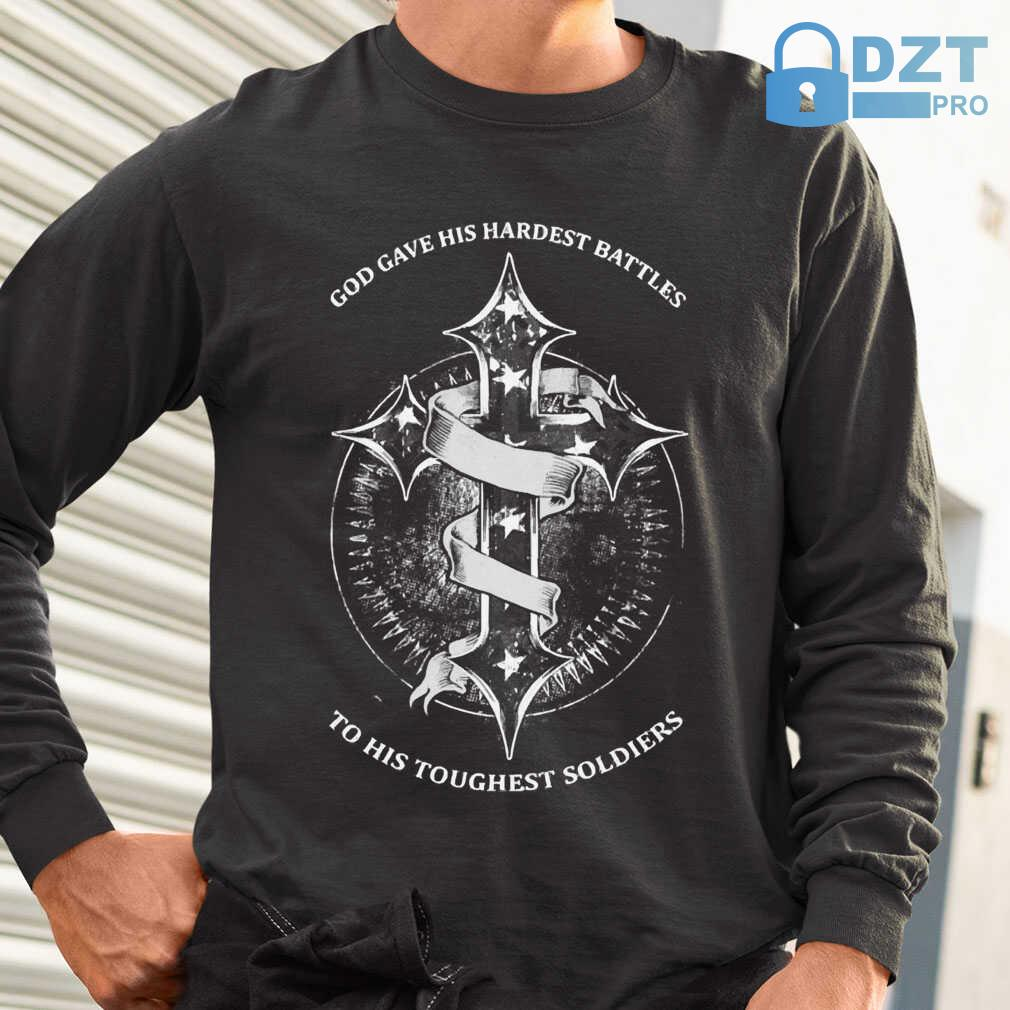 God Gave His Hardest Battles Toughest Soldiers Mesothelioma Awareness Peach Ribbon Warrior Tshirts Black - from dztpro.co 1