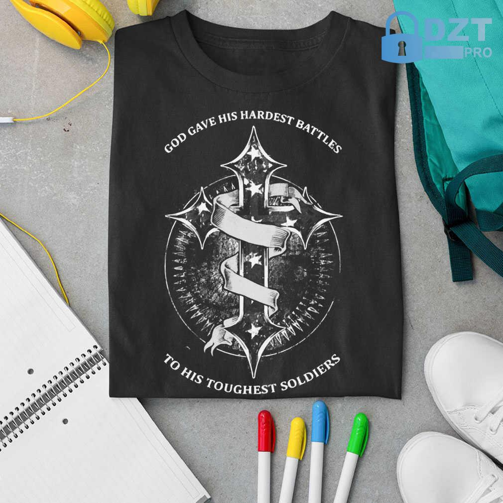God Gave His Hardest Battles Toughest Soldiers Mesothelioma Awareness Peach Ribbon Warrior Tshirts Black - from dztpro.co 3