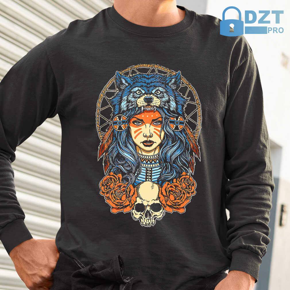 Native Skull With Wolf Hat Tshirts Black - from dztpro.co 1