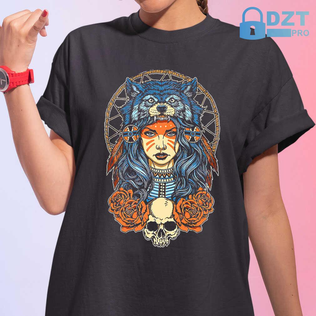 Native Skull With Wolf Hat Tshirts Black - from dztpro.co 2