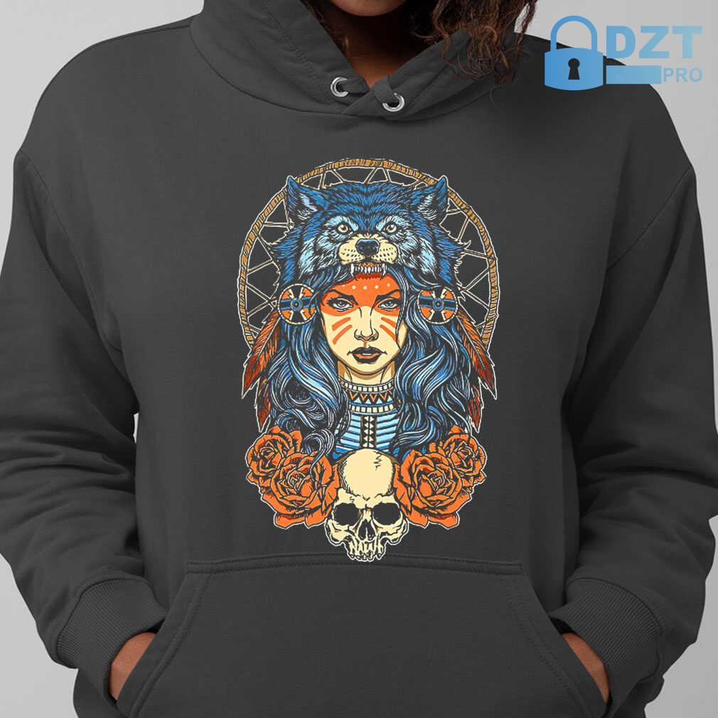 Native Skull With Wolf Hat Tshirts Black - from dztpro.co 3