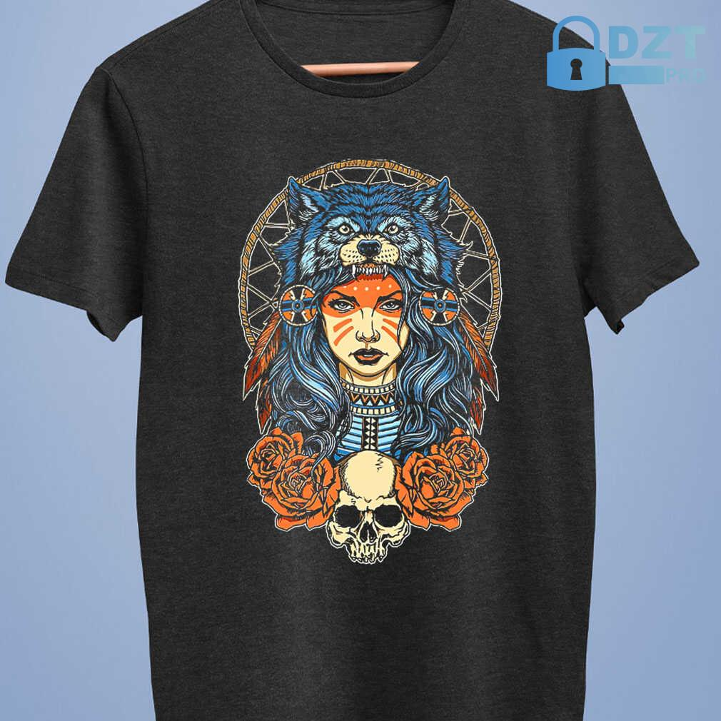 Native Skull With Wolf Hat Tshirts Black - from dztpro.co 4