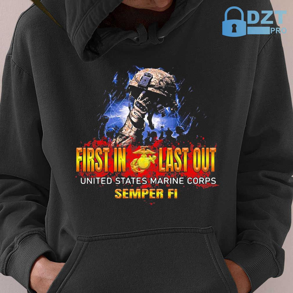 Veteran First In Last Out United States Marine Corps Semper Fi Tshirts Black - from dztpro.co 4