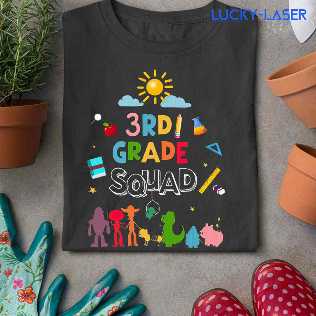 3rd Grade Squad Toys Tee Shirts Black Apparel Black - from lucky-laser.com 3