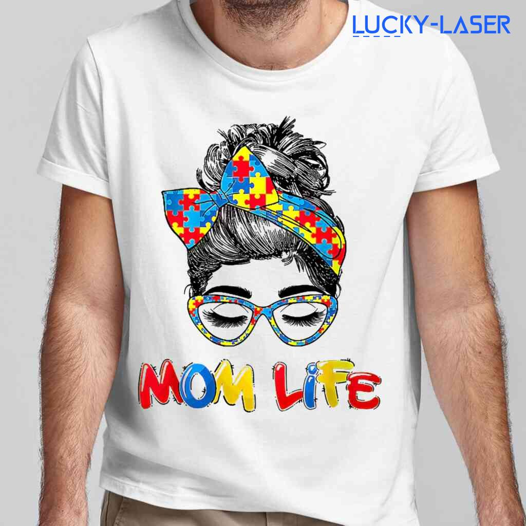 Autism Awareness Mom Life Messy Bun Tee Shirts White Apparel White - from lucky-laser.com 2