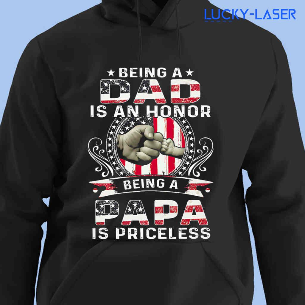 Being A Dad And Papa Is Priceless Amercican Flag Tee Shirts Black Apparel Black - from lucky-laser.com 4