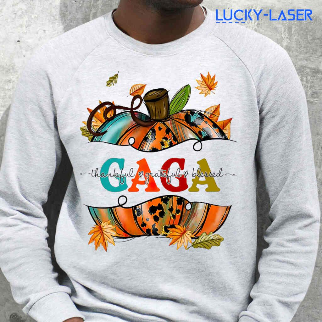 Gaga Fall Thankful Grateful Blessed Tee Shirts White Apparel White - from lucky-laser.com 3
