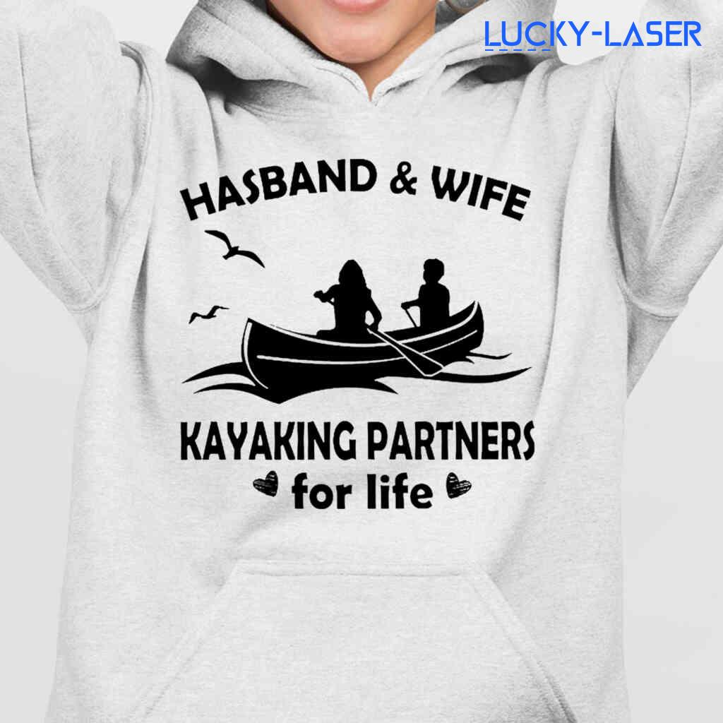 Husband And Wife Kayaking Partners For Life Tee Shirts White Apparel White - from lucky-laser.com 4