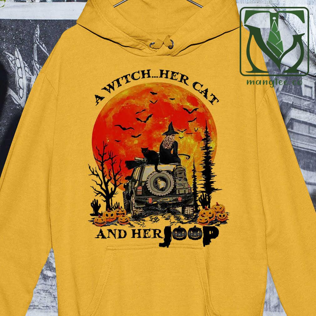A Witch Her Cat And Her Jeep Blood Moon Pumpkin Tshirts White Apparel white - from mangtee.co 4