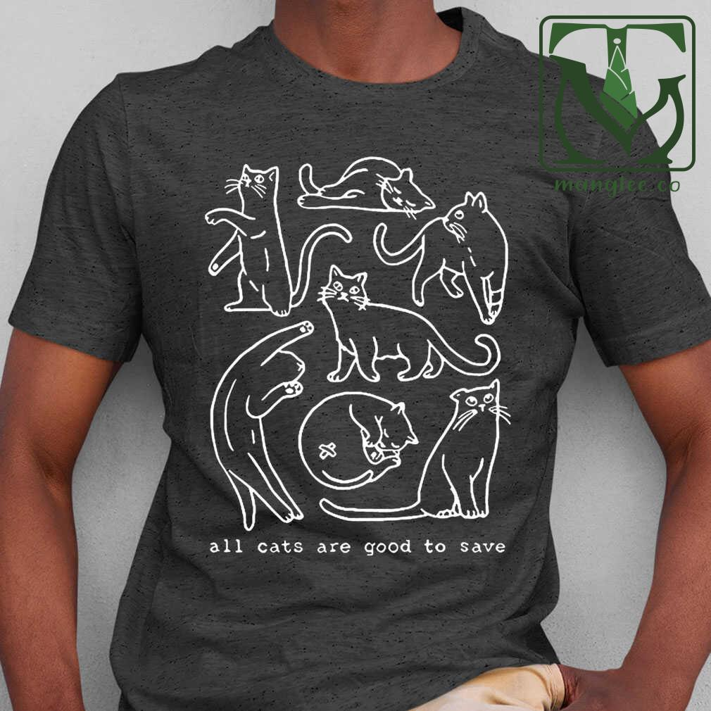 All Cats Are Good To Save Line Art Tshirts Black