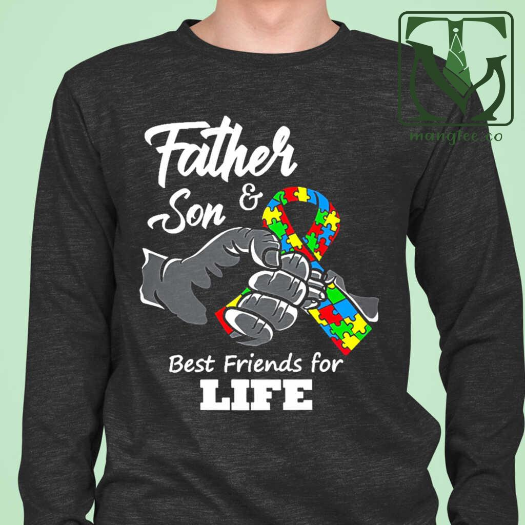 Autism Best Friends For Life Father And Son Tshirts Black