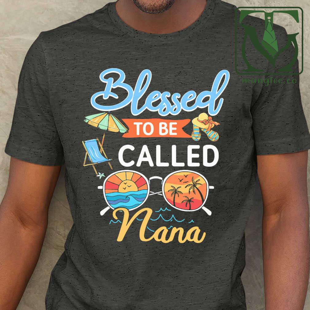 Blessed To Be Called Nana Summer Tshirts Black