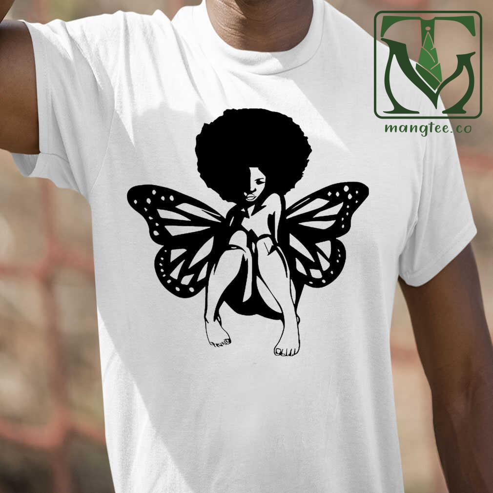 Butterfly Afro Tshirts White