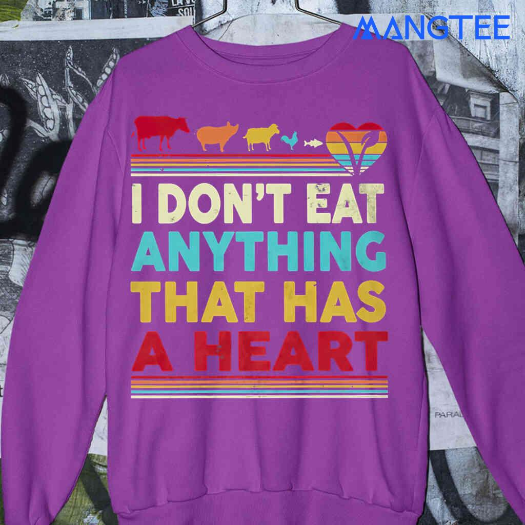 Vegan I Dont Eat Anything That Has A Heart Vintage T-shirts Black Apparel Black - from mangtee.co 4
