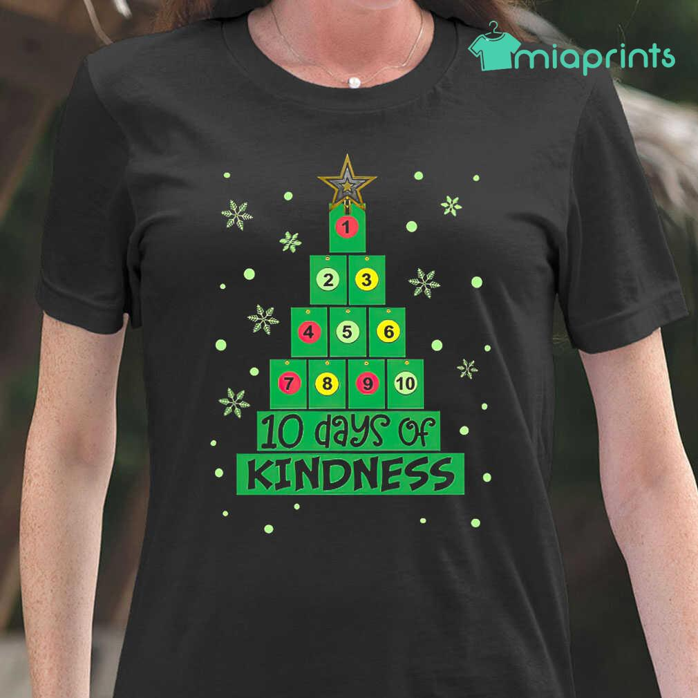 10 Days Of Kindness Christmas Tree Tee Shirts Black Apparel black - from miaprints.co 2