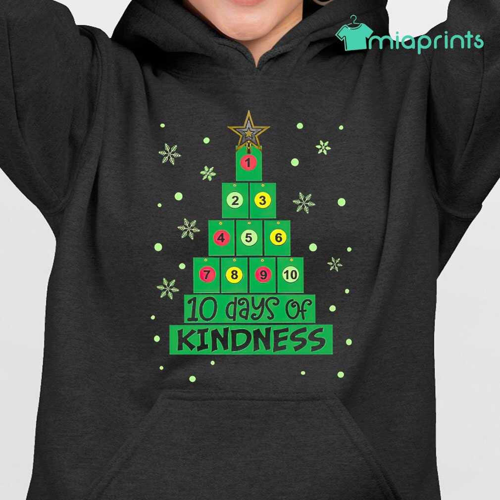 10 Days Of Kindness Christmas Tree Tee Shirts Black Apparel black - from miaprints.co 3