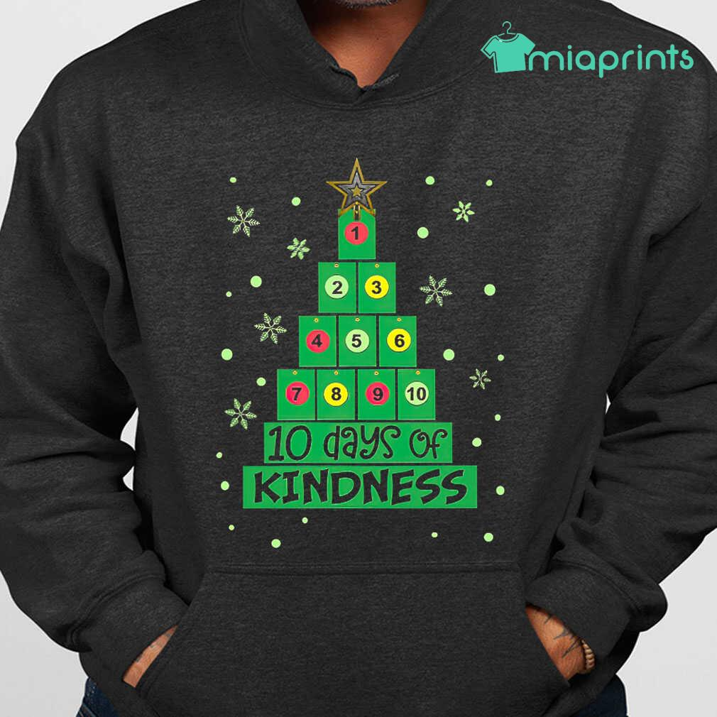10 Days Of Kindness Christmas Tree Tee Shirts Black Apparel black - from miaprints.co 4