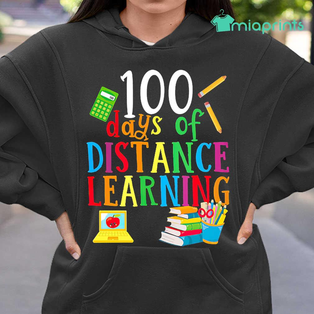 100 Days Of Distance Learning Teacher Life Tee Shirts Black - from miaprints.co 3