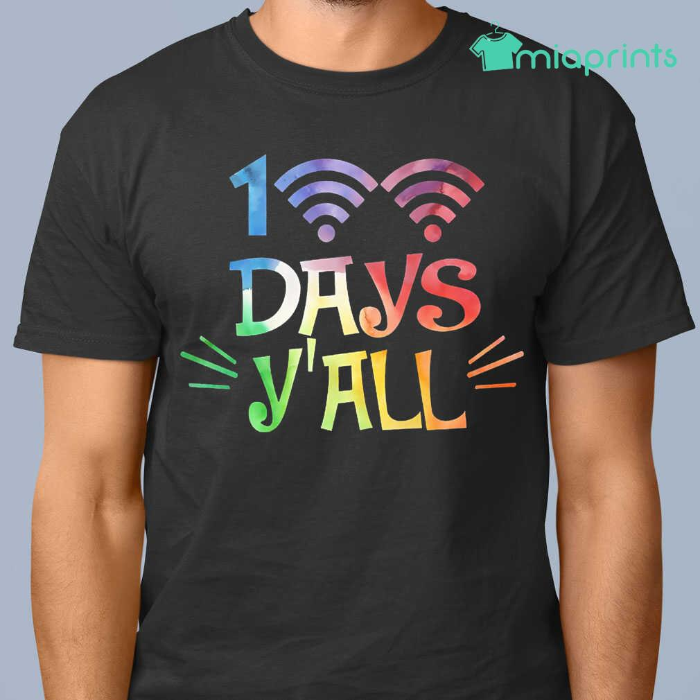 100 Days Y'All Wifi Connection Online Learning Tee Shirts Black