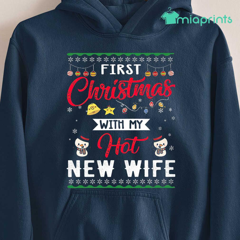 1St Christmas With My New Hot Wife Ugly Tee Shirts Black Apparel black - from miaprints.co 4