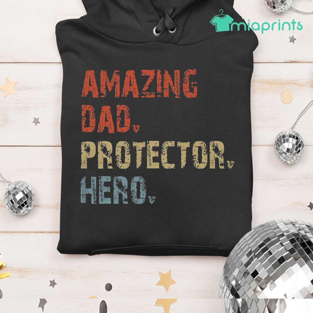 Amazing Dad Protector Hero Vintage Tee Shirts Black Apparel black - from miaprints.co 3