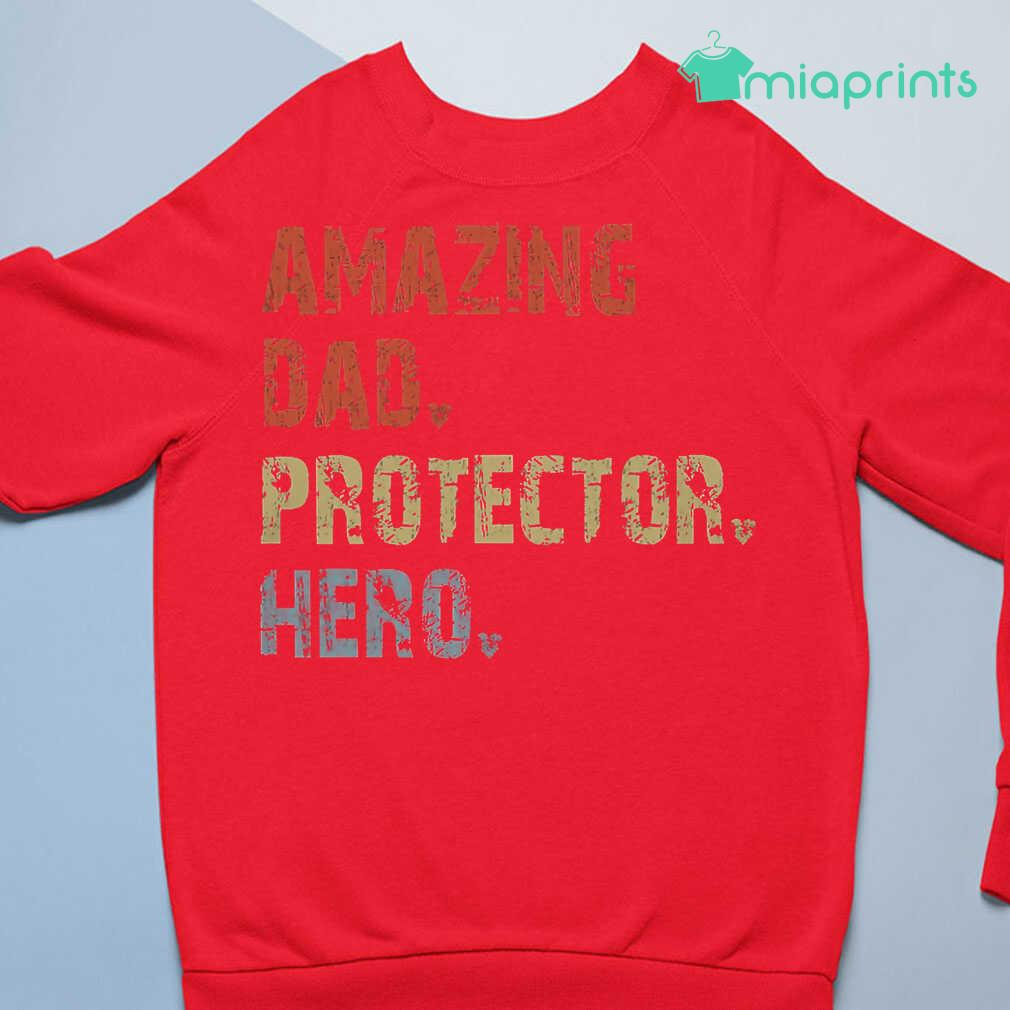 Amazing Dad Protector Hero Vintage Tee Shirts Black Apparel black - from miaprints.co 4