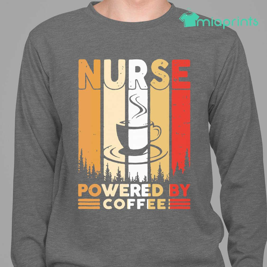 Nurse Powered By Coffee Vintage Tee Shirts Black - from miaprints.co 3