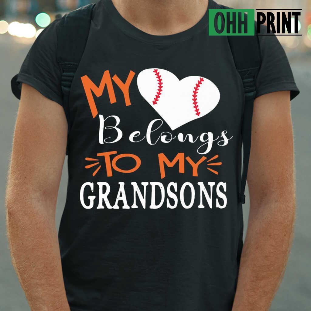 Baseball My Heart Belongs To My Grandsons T-shirts Black