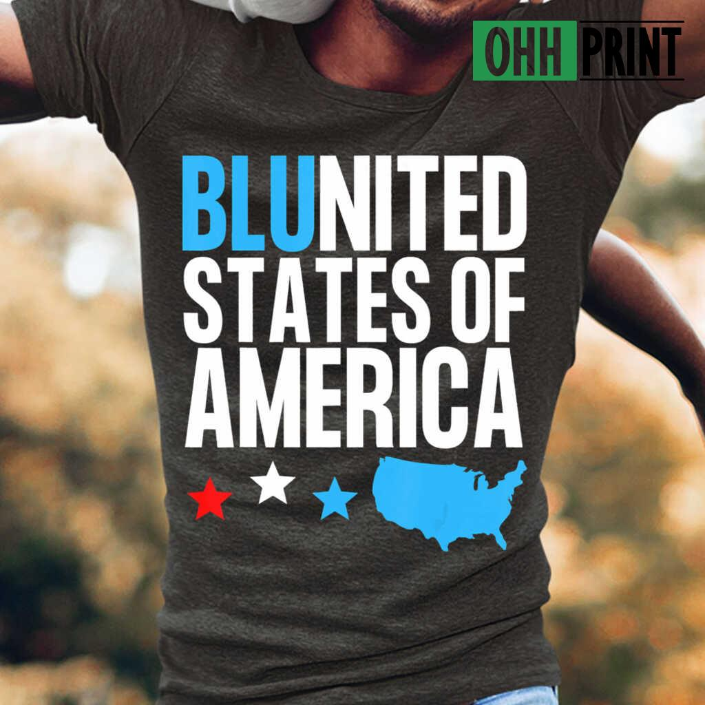 Blunited States Of America Map Stars T-shirts Black