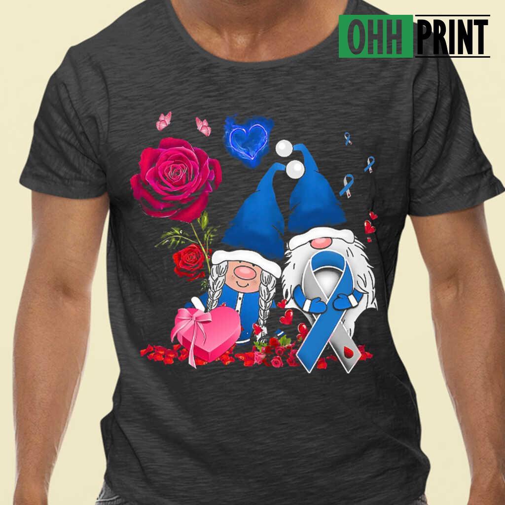 Diabetes Couple Gnome Valentine's Day T-shirts Black