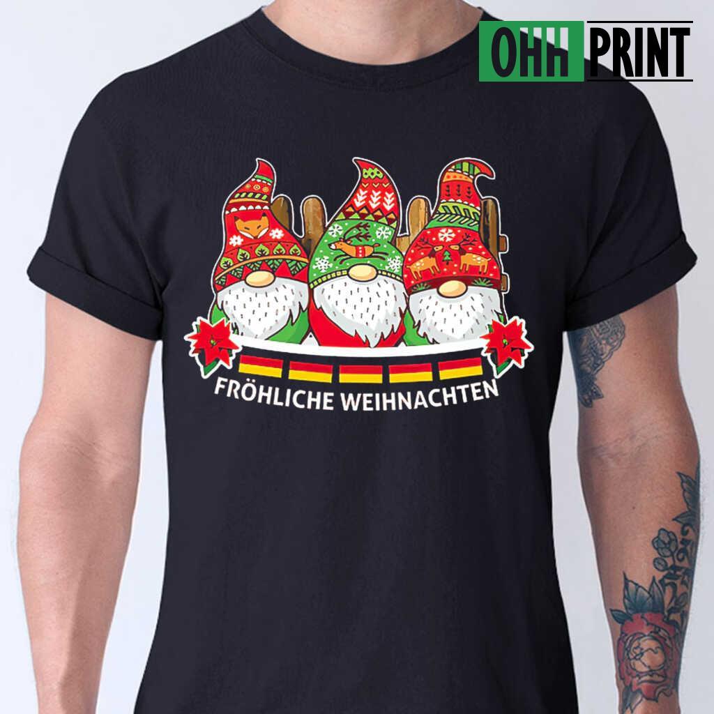 Gnome Frohliche Weihnachten T-shirts Black