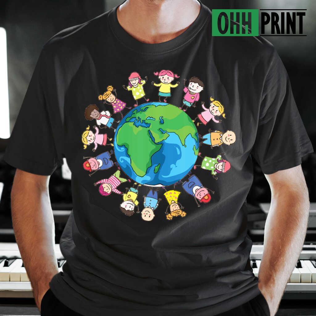 Happy Earth Day Children Around The World T-shirts Black