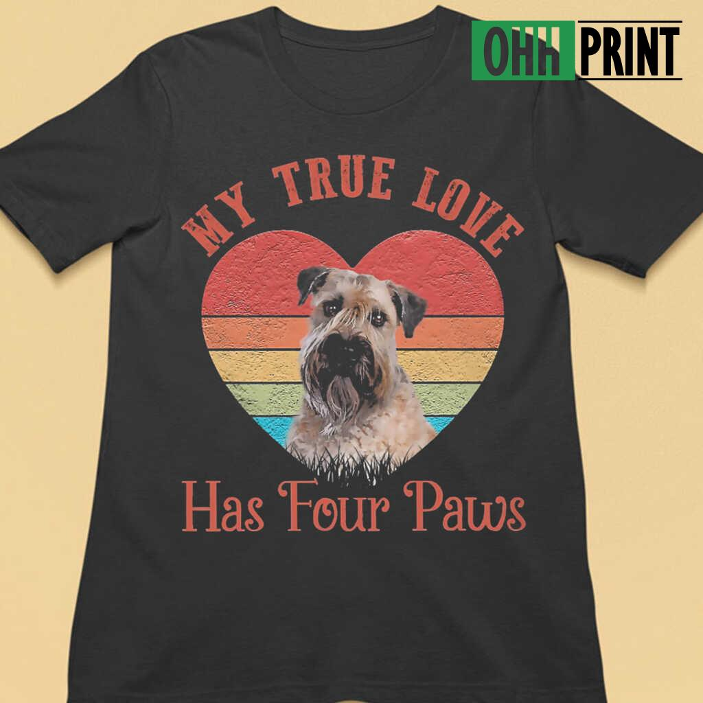 My True Love Has Four Paws Retro Wheaten Terrier T-shirts Black - from ohhprint.co 3