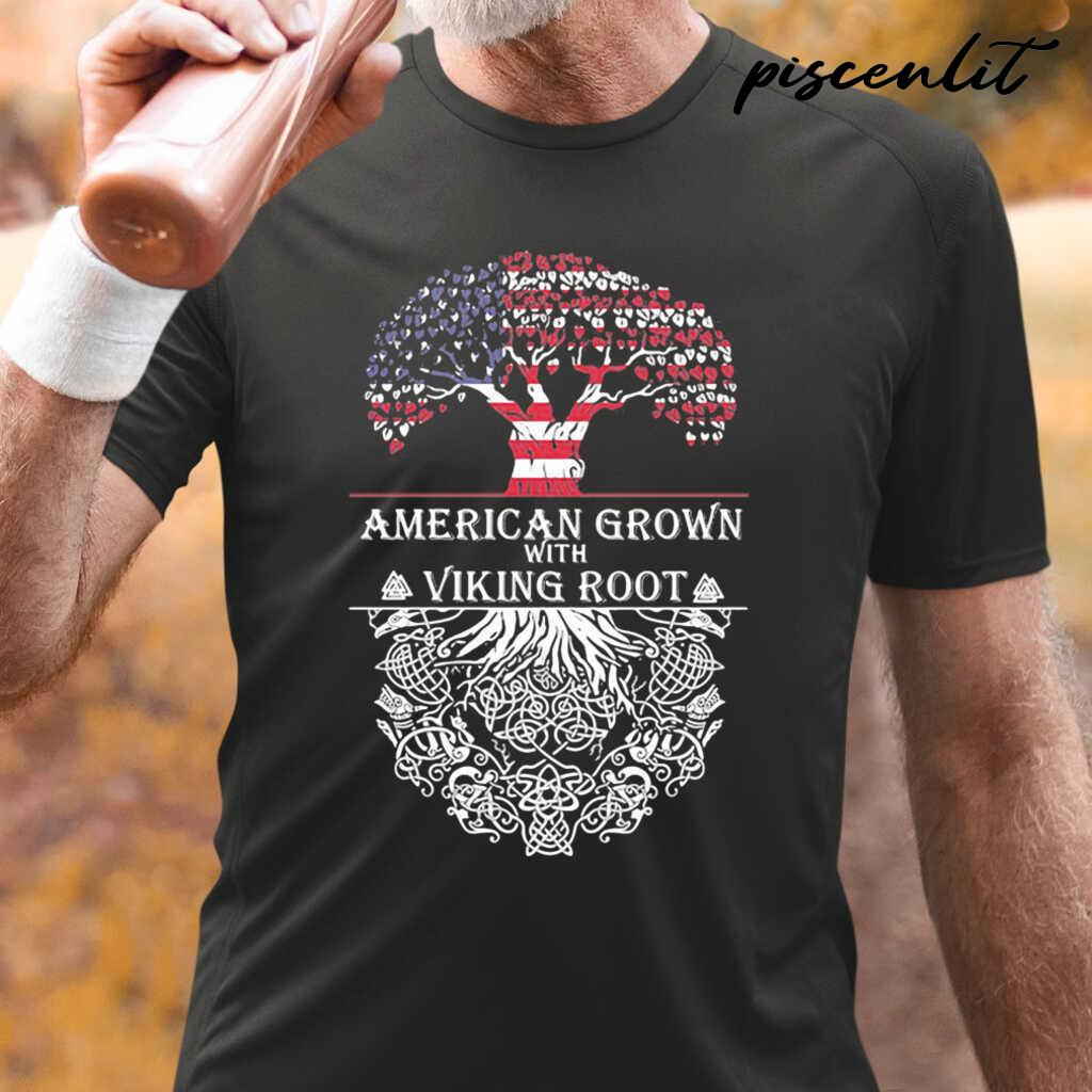 American Grown With Viking Root Flag Veteran Independence Day Tshirts Black