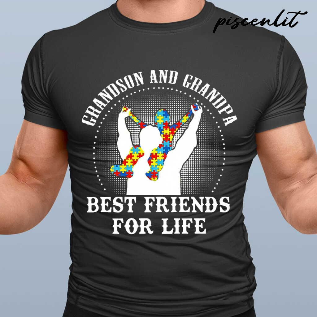 Autism Grandson And Grandpa Best Friends For Life Tshirts Black
