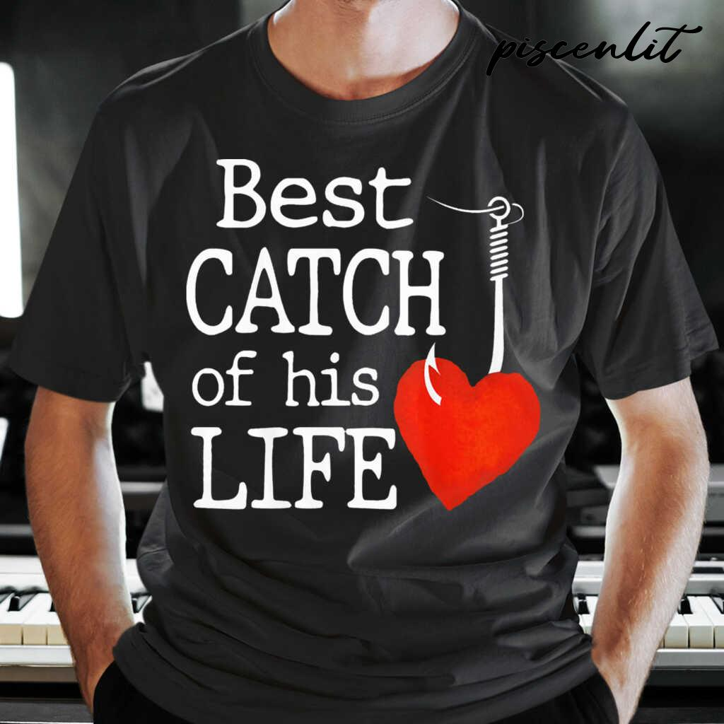 Best Catch Of His Life Fishing Couple Tshirts Black