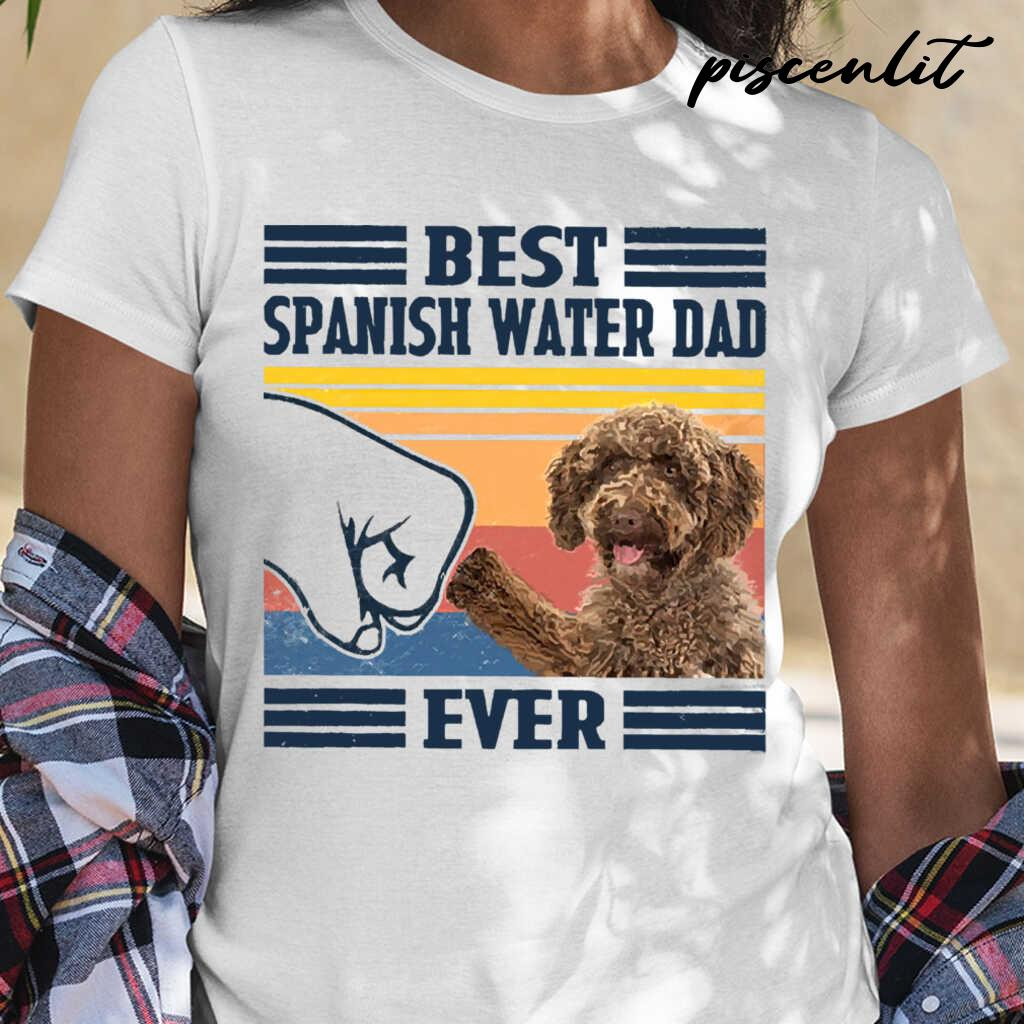 Best Spanish Water Dog Dog Dad Ever Fathers Day Gift Tshirts White Apparel white - from piscenlit.com 2