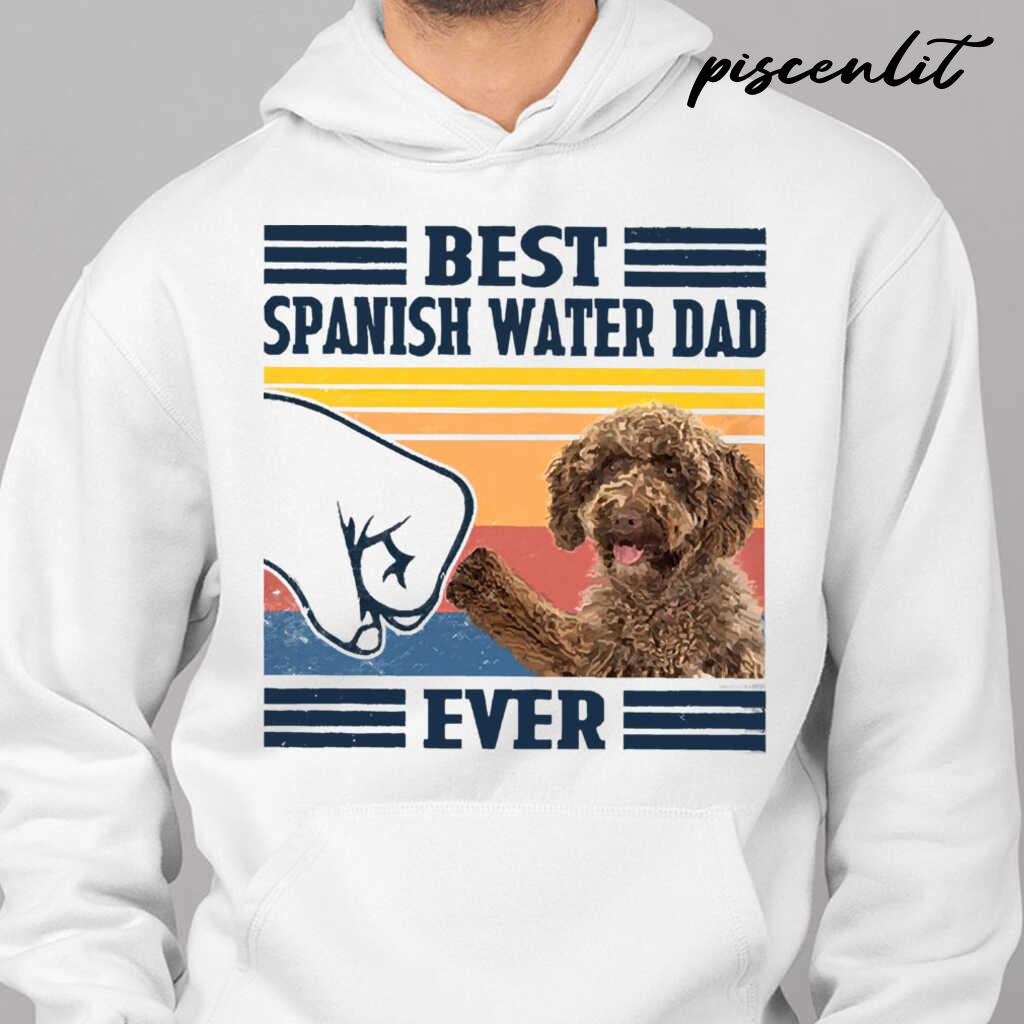 Best Spanish Water Dog Dog Dad Ever Fathers Day Gift Tshirts White Apparel white - from piscenlit.com 3