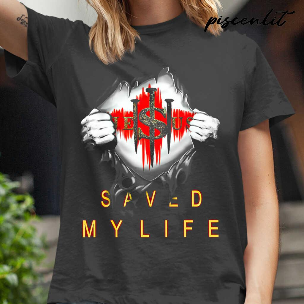 Christian 3D Jesus Saved My Life Tshirts Black - from piscenlit.com 2