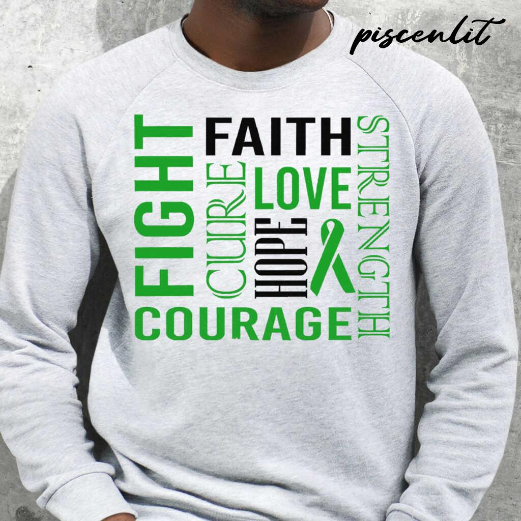 Fight Faith Hope Love Cure Courage Strength Bipolar Awareness Green Ribbon Warrior Tshirts White - from piscenlit.com 3