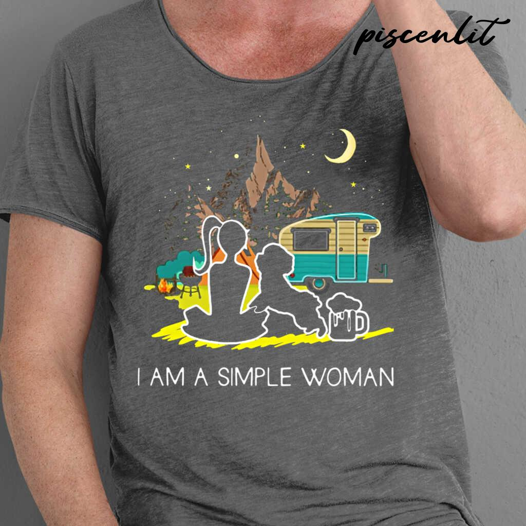 I'm A Simple Woman Camping And Dog Lover Tshirts Black - from piscenlit.com 1