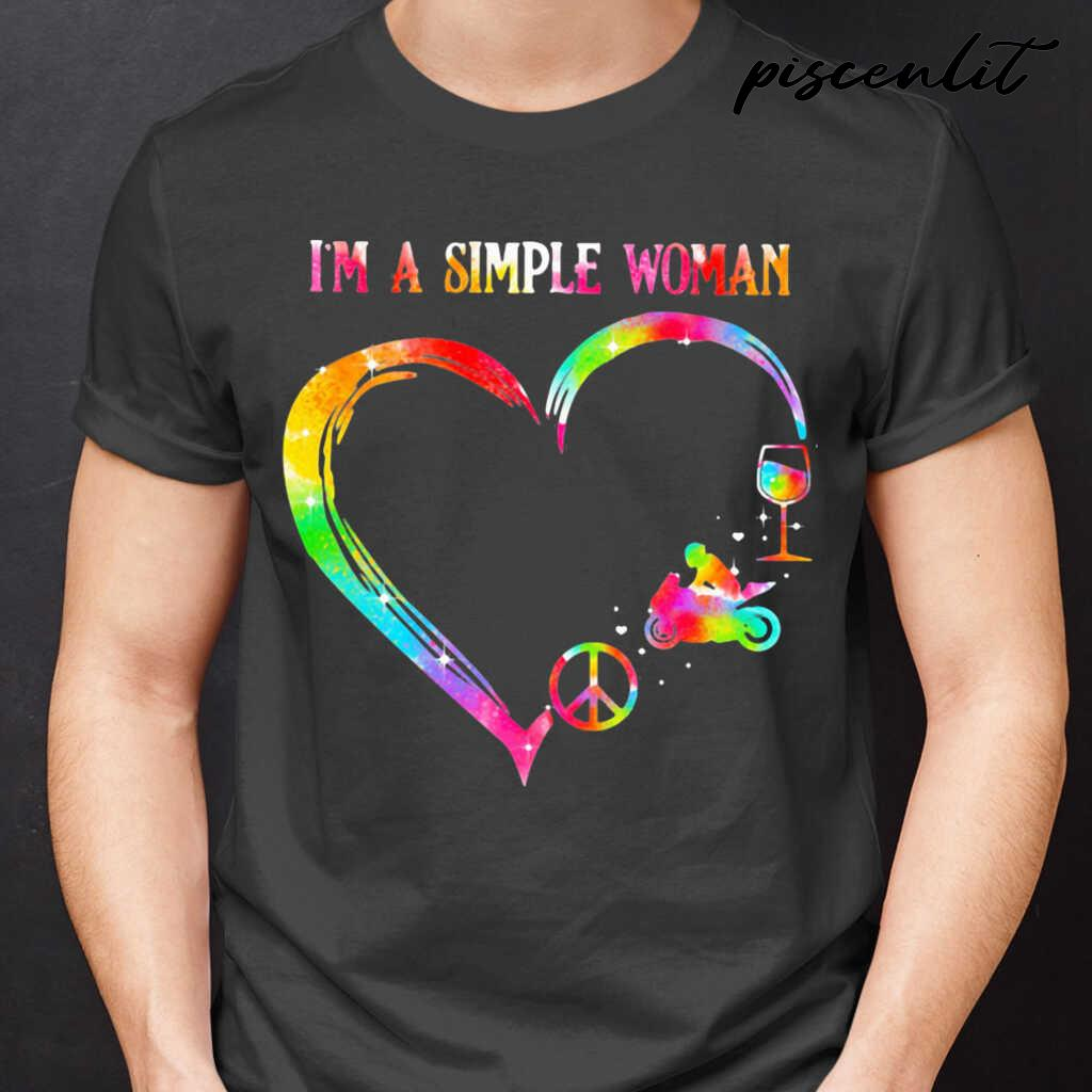 I'm A Simple Woman Heart Motorcycle Wine Tshirts Black - from piscenlit.com 1