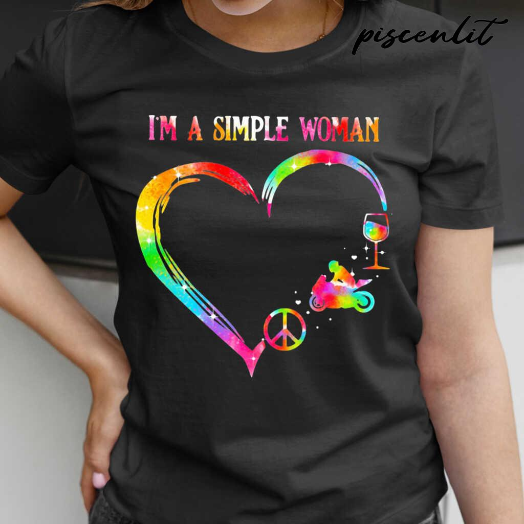 I'm A Simple Woman Heart Motorcycle Wine Tshirts Black - from piscenlit.com 2