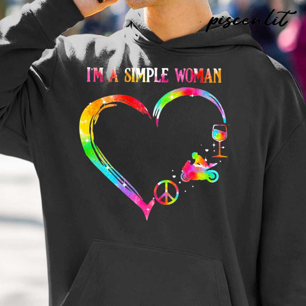 I'm A Simple Woman Heart Motorcycle Wine Tshirts Black - from piscenlit.com 3