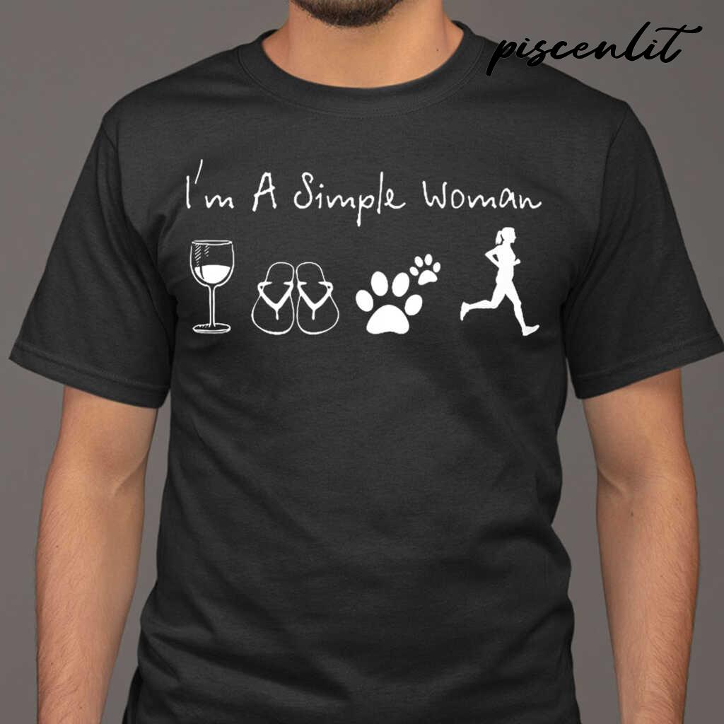 I'm A Simple Woman Wine Flip Flop Dog Paw Jogging Tshirts Black - from piscenlit.com 1