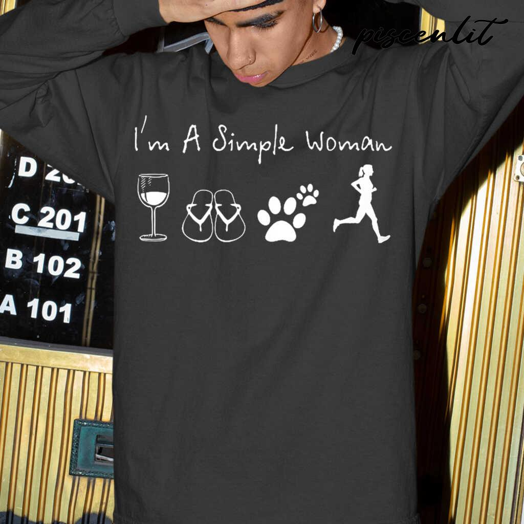 I'm A Simple Woman Wine Flip Flop Dog Paw Jogging Tshirts Black - from piscenlit.com 4